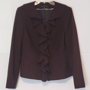 Anne Klein Suit Blazer Jacket Maroon Ruffle